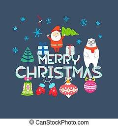 Merry Christmas vector composition. Cartoon style flat illustration