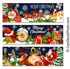 Merry Christmas vector gifts greeting banners