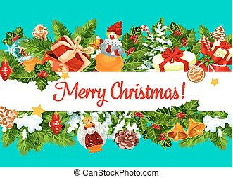 Merry Christmas vector gifts greeting card