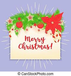 Merry Christmas vector greeting card.