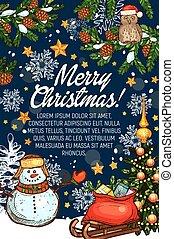 Merry Christmas vector greeting card Santa gifts