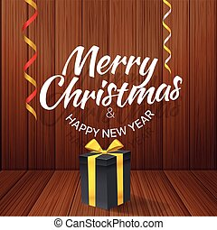 Merry Christmas. Vector greeting card with gift box