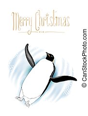 Merry Christmas vector greeting card with penguin