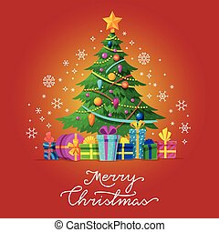 Merry Christmas vector greeting card with Xmas tree