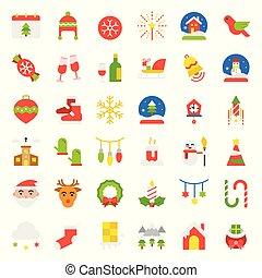 Merry Christmas vector icon set flat design