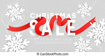 Merry Christmas vector illustration design card template with 3d white snowflakes, red ribbon on grey background with copy space