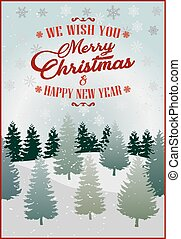 Merry Christmas. Vector Illustration. Lettering Design With Stars And Sparkles. landscape background, snow, banner design. no.2.eps
