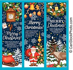Merry Christmas vector sketch greeting banners