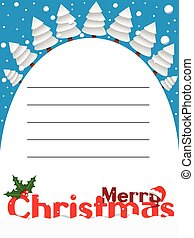 Merry Christmas vertical card snowy landscape
