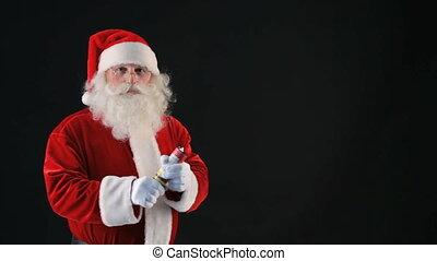Merry Christmas - Cheerful Santa blowing up a petard and...