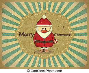Merry Christmas Vintage card with Santa Claus