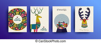Merry christmas vintage folk card collection - Merry...