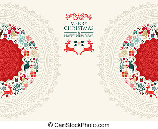 Merry Christmas vintage greeting card illustration
