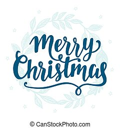 Merry Christmas vintage style label, lettering