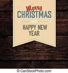 Merry Christmas VIntage Tag Design On Red Planks. Vector