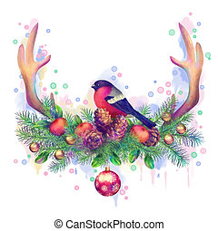 Merry Christmas Watercolor Drawing