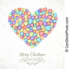 Merry Christmas watercolor heart illustration card