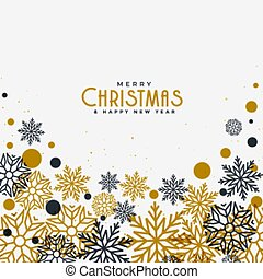 merry christmas white background with gold and black snowflakes