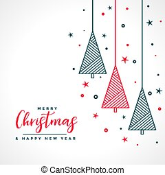 merry christmas white background with red and black tree