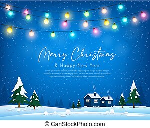 Merry Christmas winter greeting card bulb light, house, tree and snow blue background