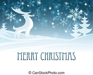 Merry Christmas Winter Landscape Deer Scene