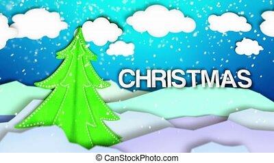 Merry Christmas Winter Landscape Paper Scene Loop Animation