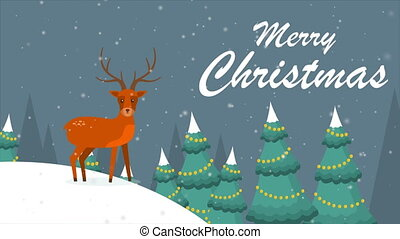 Merry Christmas winter landscape with deer footage