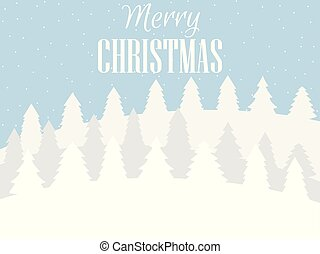 Merry Christmas. Winter landscape with snowflakes and Christmas trees. Xmas background. Vector illustration