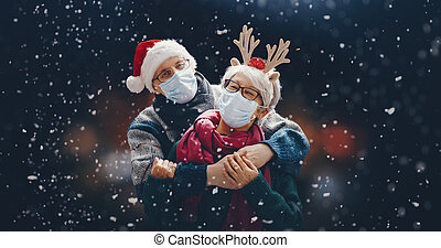 Winter portrait of senior couple