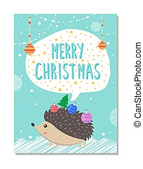 Merry Christmas Wishes from Cute Hedgehog Decor