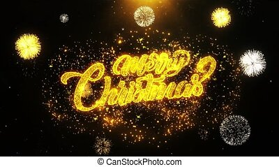 Merry Christmas Wishes Greetings card, Invitation, Celebration Firework Looped.
