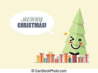 Merry Christmas with christmas tree character