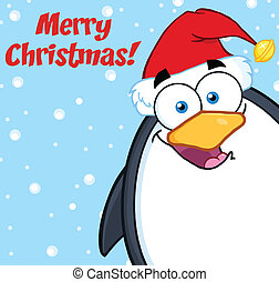 Merry Christmas With Cute Penguin