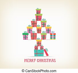 merry christmas with gifts as tree