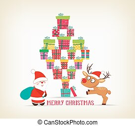 merry christmas with gifts, deer