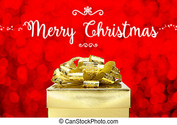 Merry Christmas with Golden Present box at red bokeh light background, Holiday concept