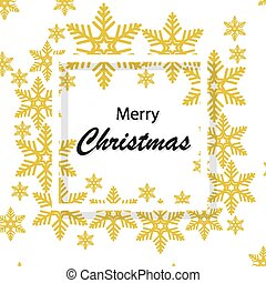 merry christmas with golden snowflakes in white frame