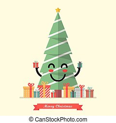 Merry Christmas with happy christmas tree character