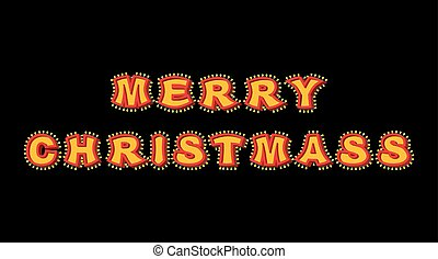 Merry Christmas with lamps vintage sign. Glowing letters. Vintage shiny lettering bulbs. garland for New Year. Retro pointer with light bulb. Luminous signboard