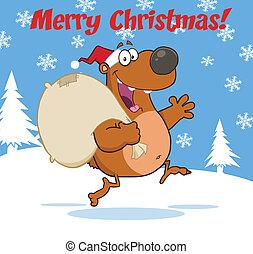 Merry Christmas With Santa Bear