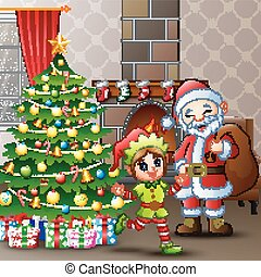 Merry christmas with santa claus and elves at home