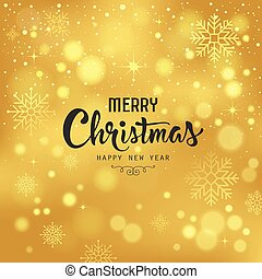 Merry Christmas with snowflake on gold background