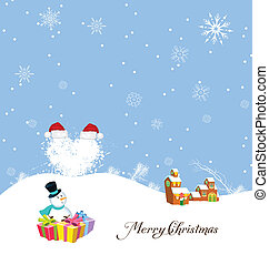 Merry christmas with snowman