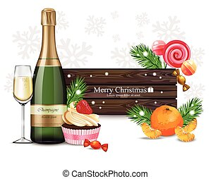 Merry Christmas wood banner with sweets and champagne Vector realistic