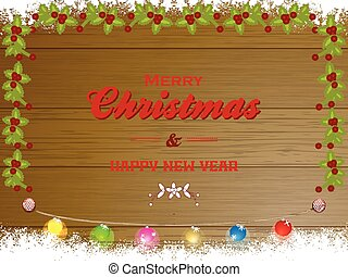 Merry Christmas wooden panel