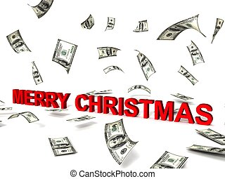 merry christmas word and dollars