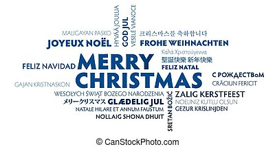 merry christmas word cloud in different languages