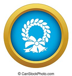 Merry Christmas wreath icon blue isolated