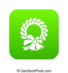 Merry Christmas wreath icon digital green