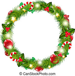 Merry Christmas Wreath, Isolated On White Background, Vector...